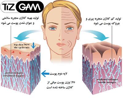 سرم صورت دکتر راشل با عصاره طلا اسانس خاویار علت پیری نحوه رفع چین و چروک پوست تیزگام tizgam dr rashel golde serum face