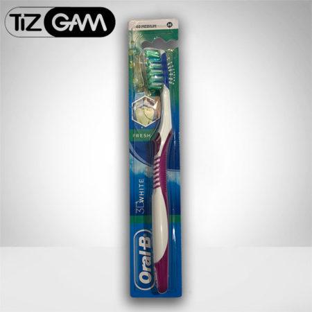 بهترین مسواک آنتی باکتریال ضد حساسیت متوسط مدیوم اورآل بی اورال بی oralb oral b tizgam تیزگام رنگ بنفش تیزگام اورالبی tootj brush 3d white medium