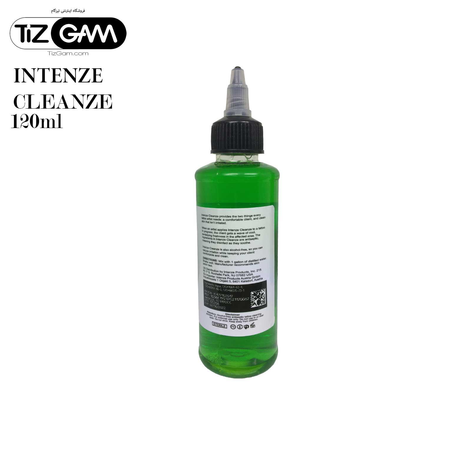 محلول-کلینزر-تاتو-اینتنز-پاک-کننده-شست-و-شو-رنگ-تاتو-تیزگام-intenze-cleanze-tatoo-tizgam اورجینال orginal