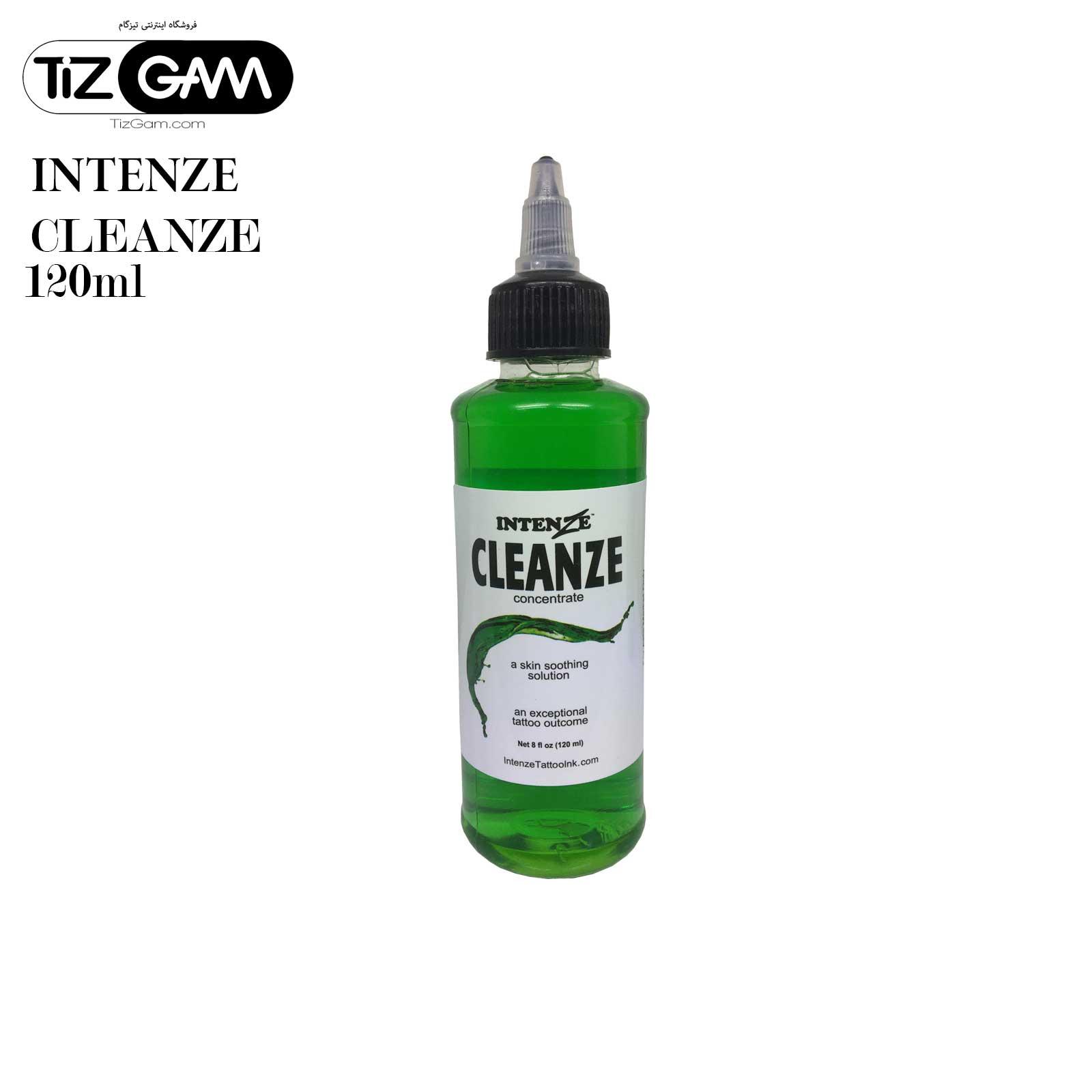 محلول کلینزر تاتو اینتنز ۱۲۰ml-پاک-کننده-شست-و-شو-رنگ-تاتو-تیزگام-intenze-cleanze-tatoo-tizgam اورجینال orginal