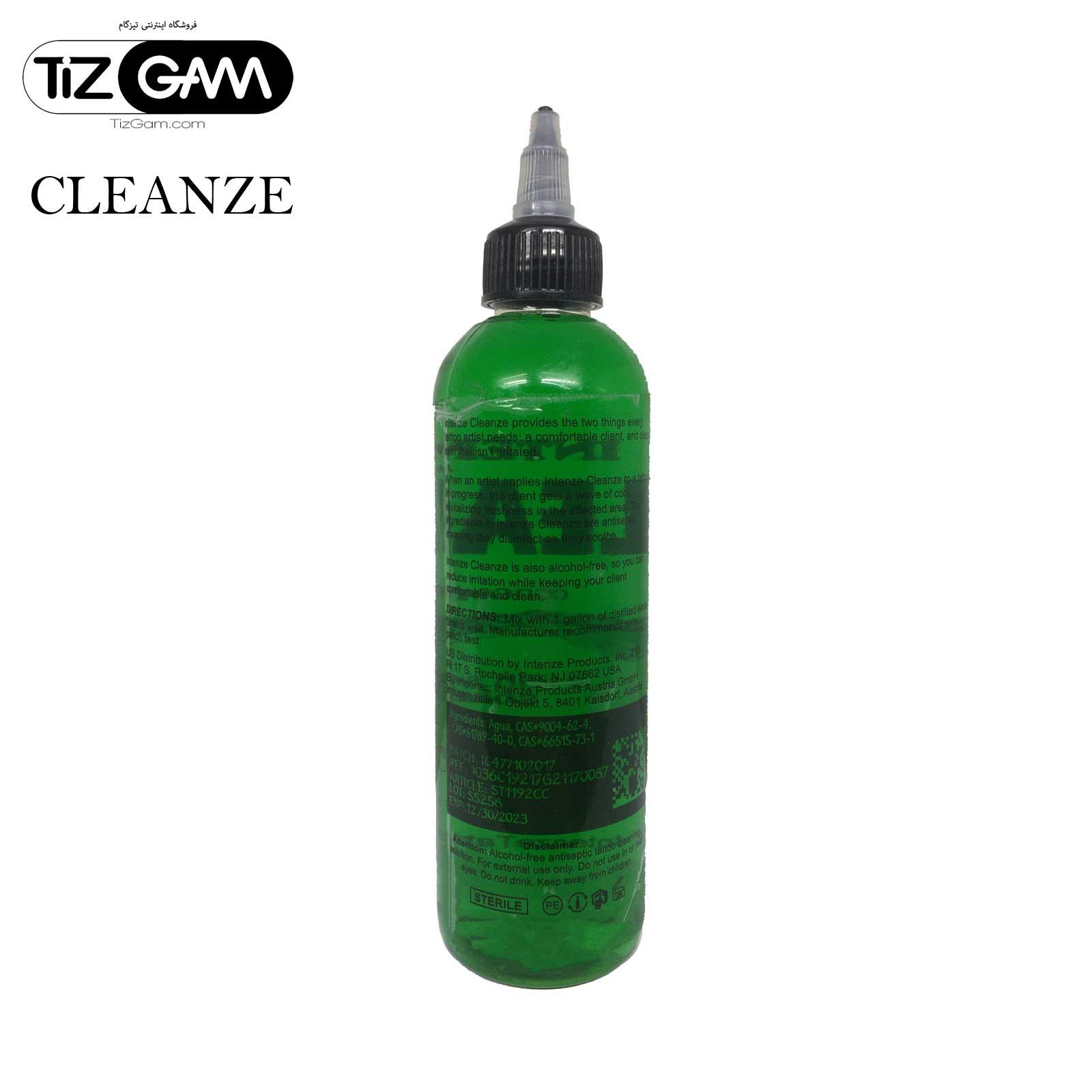 محلول کلینزر تاتو اینتنز پاک کننده شست و شو رنگ تاتو تیزگام ضدعفونی intenze cleanze tatoo tizgam